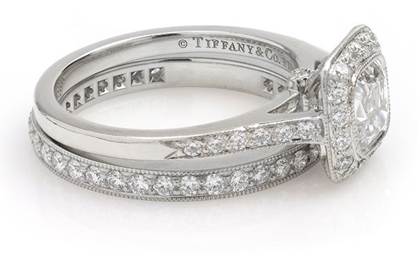 Tiffany ring showing the maker's mark.